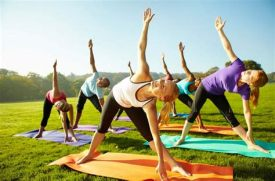 outdoor group yoga